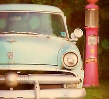 Light Blue Vintage Ford and Old Gas Pump photograph by jemvistaprint