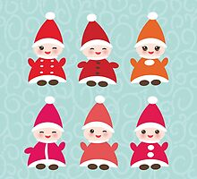 Merry Christmas, Happy New Year card, Funny gnomes by EkaterinaP