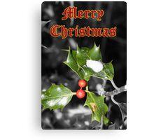 Merry Christmas - Holly Canvas Print