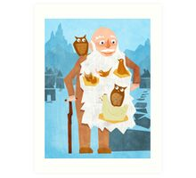 Old Man with Bird Nest Beard Art Print