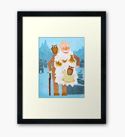 Old Man with Bird Nest Beard Framed Print