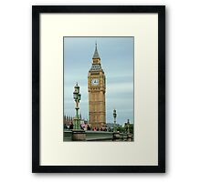 The big Ben thru Lamps on Westminster Bridge London. Framed Print