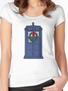 Christmas Tardis Women's Fitted Scoop T-Shirt