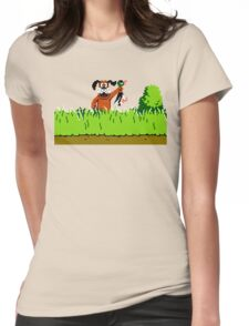 Duck Hunt Dog with Duck Womens Fitted T-Shirt