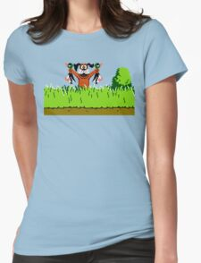 Duck Hunt Dog with 2 Ducks Womens Fitted T-Shirt