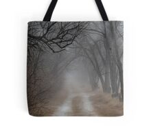 Dirt Road and Trees in the Fog Tote Bag