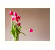 Glass vase with bunch of pink tulips Art Print