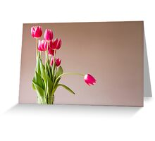 Glass vase with bunch of pink tulips Greeting Card
