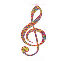 Psychedelic Music note 2 Photographic Print