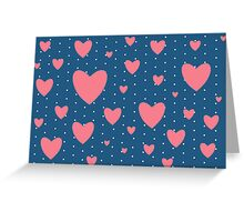 Romantic Vintage Pink Hearts Print Greeting Card