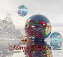 Magical fantasy Christmas card with floating Baubles by walstraasart