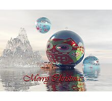 Magical fantasy Christmas card with floating Baubles Photographic Print