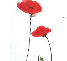 Watercolour brilliant red poppies iphone case by bardenne