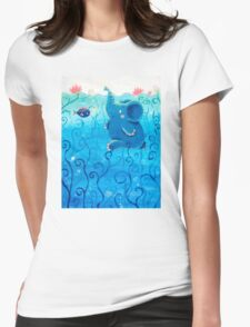 Underwater Adventure - Rondy the Elephant Painting Womens Fitted T-Shirt