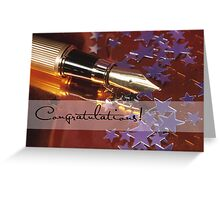 Congratulations, Pen, Stars Greeting Card