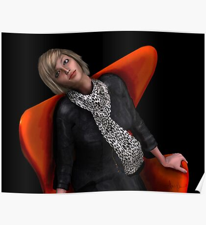 Girl in a Red Wingback Poster