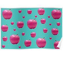 Quirky Retro Pop Pink Apples Print Poster