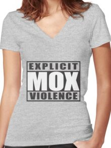 Explicit Mox Violence Women's Fitted V-Neck T-Shirt