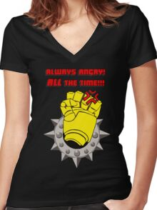 Tabletop gaming - always angry, all the time - powerfist Women's Fitted V-Neck T-Shirt