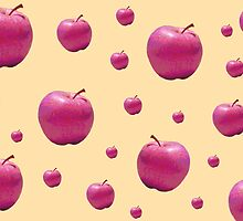 Quirky Retro Pop Pink Apples Print by bardenne