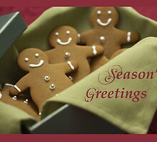 Gingerbread Men, Christmas Seasons Greetings by SandraRose