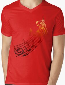 Music Notes Mens V-Neck T-Shirt