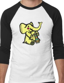 Knitting Elephant Loves Yarn Men's Baseball ¾ T-Shirt