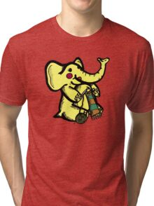 Knitting Elephant Loves Yarn Tri-blend T-Shirt