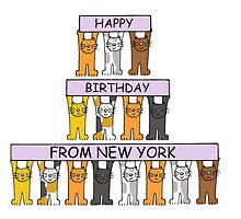Cats Happy Birthday from New York. by KateTaylor