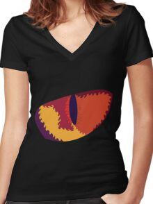 Psychedelic Cat Eye Women's Fitted V-Neck T-Shirt