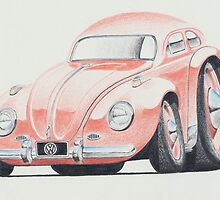 VW Beetle in Pink by Glens Graphix by GlensGraphix