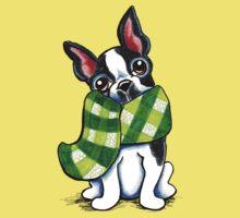 Boston Terrier Happy Plaid Scarf Kids Tee