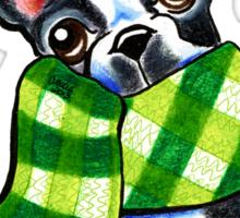 Boston Terrier Happy Plaid Scarf Sticker