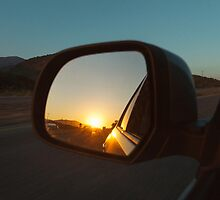 Sunset in Rear Mirror by visualspectrum