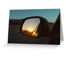 Sunset in Rear Mirror Greeting Card