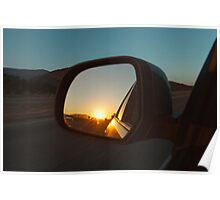 Sunset in Rear Mirror Poster