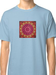 Mandala of Cocktail Straws in Fuschia, Ochre and Red Classic T-Shirt