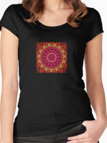 Mandala of Cocktail Straws in Fuschia, Ochre and Red Women's Fitted Scoop T-Shirt