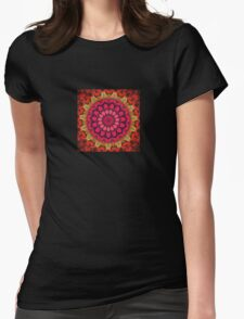 Mandala of Cocktail Straws in Fuschia, Ochre and Red T-Shirt