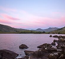 Pink sky over the Snowdon Horseshoe by Judi Lion