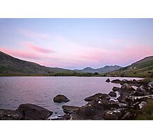 Pink sky over the Snowdon Horseshoe Photographic Print