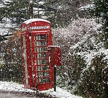 Red Phone Box in the Snow by Judi Lion