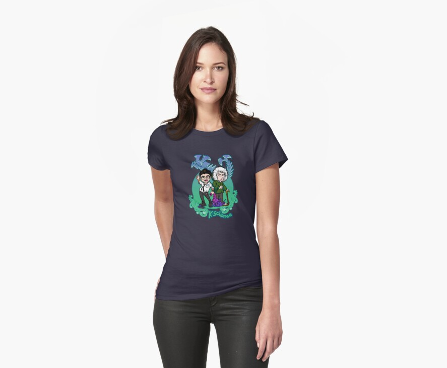 Kaiju Science! SMALLER LOGO FOR GIRLY-FIT TEES! by Sarah Myer