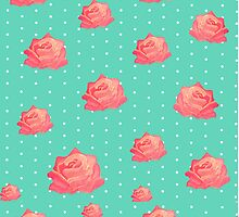 Vintage floral print - roses on polka dots by bardenne