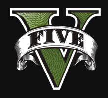 Grand Theft Auto Five V Logo Tshirt by GraphocDesign