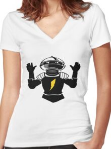 Mighty Morphin Power Rangers Alpha 5 Women's Fitted V-Neck T-Shirt