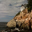 Bass harbor head light at high tide  by Joseph Allert
