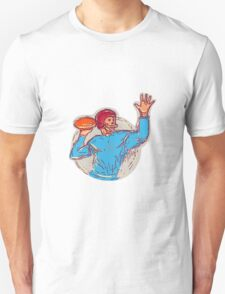 American Football Quarterback Throwing Ball Drawing T-Shirt