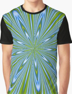 Star Burst in Lime and Blue Abstract Kaleidoscope Graphic T-Shirt