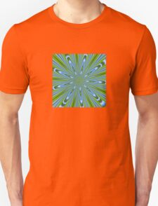 Star Burst in Lime and Blue Abstract Kaleidoscope T-Shirt